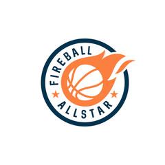 bedge fire basketball vector icon logo design
