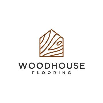 wood house home grain timber lumber vector icon logo design