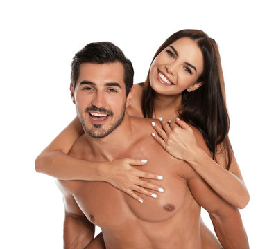 Young attractive couple in beachwear on white background