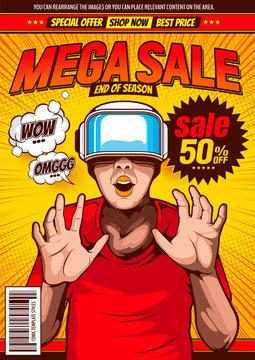 sale pop-art design, comic cover template background, flyer brochure speech bubbles, doodle art, VR virtual reality technology, glasses and headset ,vector illustration.