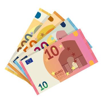 Euro banknotes flat vector illustration