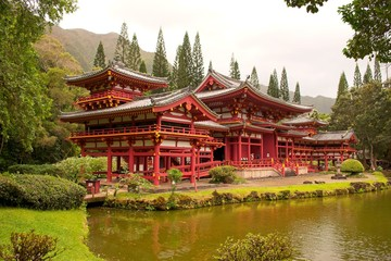 Spoed Foto op Canvas Bedehuis The Byodo_In Temple in Kaneohe, Hawaa