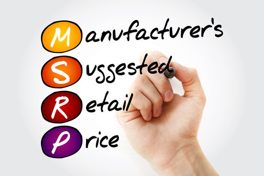 MSRP - Manufacturer's Suggested Retail Price acronym with marker, business concept background