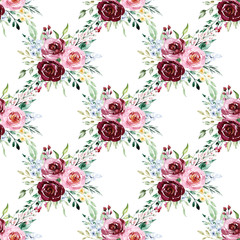 Seamless floral pattern, vintage background with watercolor flowers pink and purple roses, leaves. Repeating fabric wallpaper print texture. Perfectly for wrapped paper, backdrop. Hand paint.