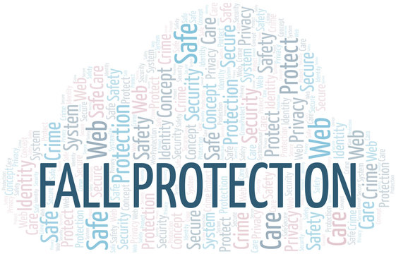 Fall Protection word cloud. Wordcloud made with text only.