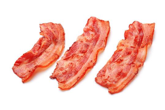 Fried bacon on white background