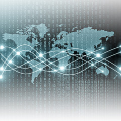 Wall Mural - World map on a technological background, glowing lines symbols of the Internet, radio, television, mobile and satellite communications.