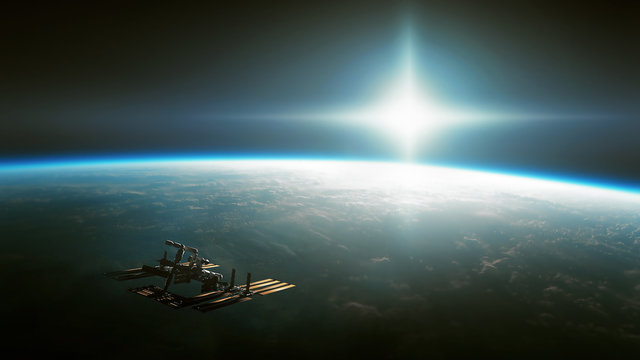 Spaceship is moving towards a mysterious glow.  Some elements of this image are furnished by NASA