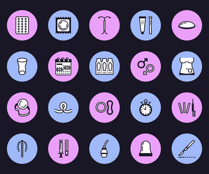 Contraceptive methods line icons. Birth control equipment, condoms, iud, barrier contraception, vaginal ring, sterilization. Safe sex thin linear signs for medical clinic