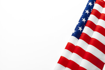 Close up of American flag USA on plain background