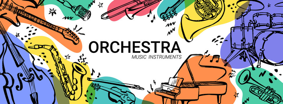 Hand drawn music instruments. Orcestra. Horizontal banner or cover for social media. Ink style vector illustration with watercolor stains on white background.