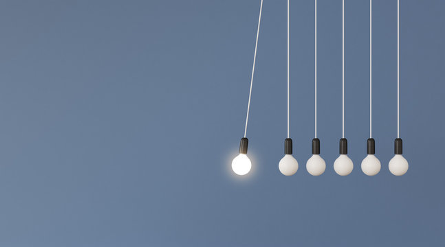 Mock up of hanging light bulbs with one glowing on blue wall background,Conceptual idea of pendulum,Outstanding. 3D rendering
