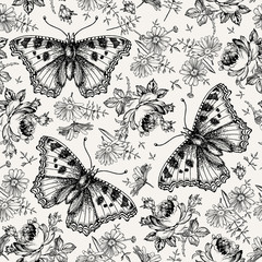 Butterflies moths insects animals fly. Seamless textile. Beautiful black and white realistic flowers. Vintage background. Wallpaper. Rose Chamomile Wildflowers Floral. Vector victorian Illustration.