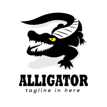 simple ferocious crocodile art logo design inspiration