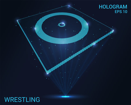 Hologram wrestling. A holographic projection of a classic wrestling. Flickering energy flux of particles. Scientific sports design.
