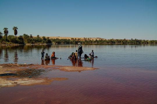 Panoramic view to Katam aka Baramar lake group of Ounianga kebir lakes at the Ennedi, Chad
