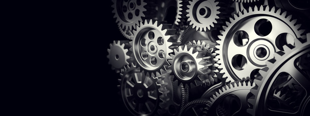 Mechanism, gears and cogs at work. Industrial machinery