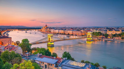 Budapest, Hungary. Aerial cityscape image of Budapest panorama with Chain Bridge and parliament building during summer sunset.