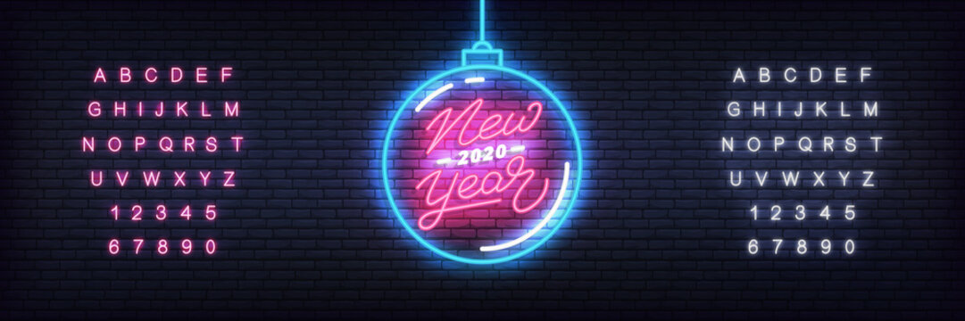 New Year 2020 neon template. Glowing neon Christmas ball and lettering for New Year 2020 celebration