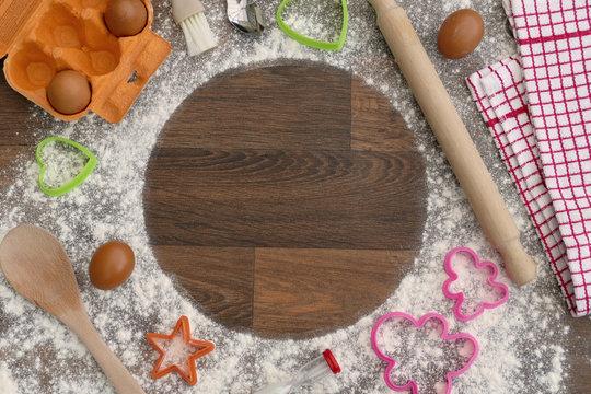 Baking Ingredients Kitchen Utensils Kitchen Flat Lay Mockup Frame