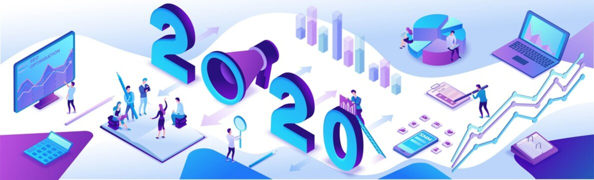 2020 year marketing plan, social media isometric 3d infographic strategy, promotion campaign concept, people teamwork analyze website content report, advertising horizontal banner vector illustration