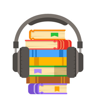 Audio book concept. Online library archive vector flat illustration. Stack of books with headphones on it. Electronic book metaphor.