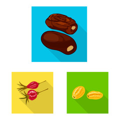 Fototapete - Vector design of fruit and dried symbol. Collection of fruit and food vector icon for stock.