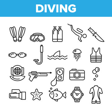 Scuba Diving Equipment Vector Linear Icons Set. Summer Vacation, Diving Water Sport Outline Cliparts. Active Sea Holiday Pictograms Collection. Extreme Activity, Snorkeling Thin Line Illustration