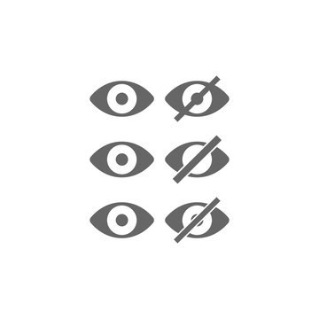 Show and hide simple eye black vector icon set. Eye glyph isolated symbol.