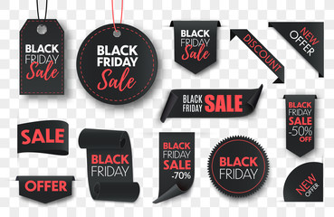 Black friday sale ribbon banners collection isolated. Vector price tags isolated on black background.
