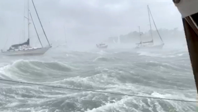 Sailboats moored in the harbour during a tornado on Cape Cod, Massachusetts