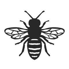 Honey Bee Icon. Black Bee On White Background. Vector Silhouette.