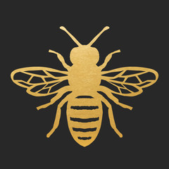 Bee-simple_1_goldGolden Honey Bee Shape On Black Background. Vector Silhouette.