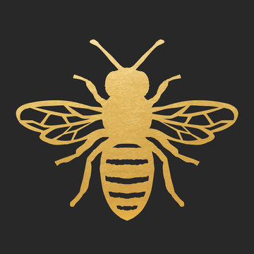 Bee-simple_1_goldGolden Honey Bee Shape On Black Background. Vector Silhouette.