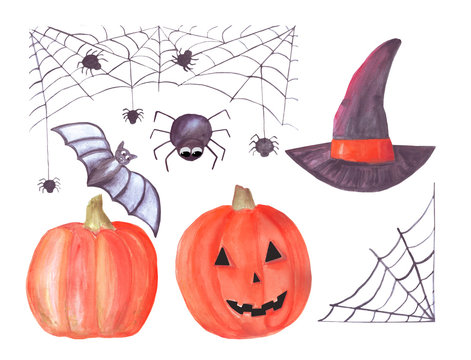 watercolor halloween set with spiderweb, spiders, pumpkins, witch hat, bat. A set of items. Isolated on white background. Suitable for invitations, cards, decorations