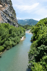 Foto op Aluminium Rivier View of the Verdon river, at the beginning of the Verdon Gorges near village Castellane. Alps of Provence. France.