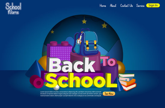 3D Illustration With Typography of  Back to School landing Page Design