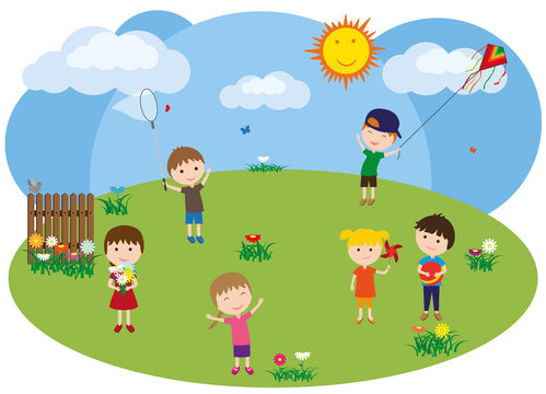 Children play on the lawn. Girls collect flowers and play with a pinwheel, boys fly a kite, catch butterflies with a net and   play ball.