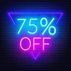 Fototapete - 75 percent off neon lettering on brick wall background