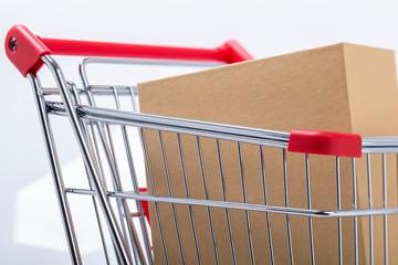Parcel inside a shopping cart