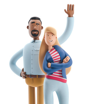 3d illustration. Businessman Stanley and Emma stand on white background.