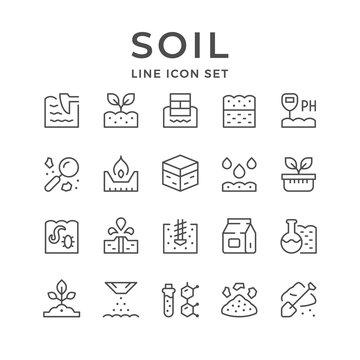Set line icons of soil