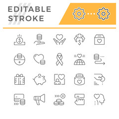 Set editable stroke line icons of charity