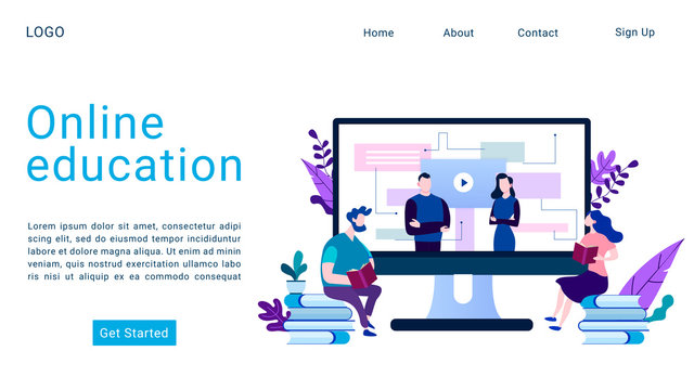 Online education landing page isometric vector template. E-learning, video tutorial. Webinar, lecture 3d concept illustration. Online courses, classes and interactive training website homepage layout