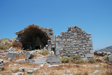 The ruins of the medieval Crusader Knights castle above Megalo Chorio on the Greek island of Tilos.