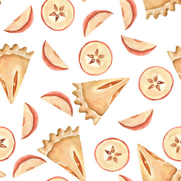 Hand painted watercolor pattern of apples and pies. Autumn desserts.
