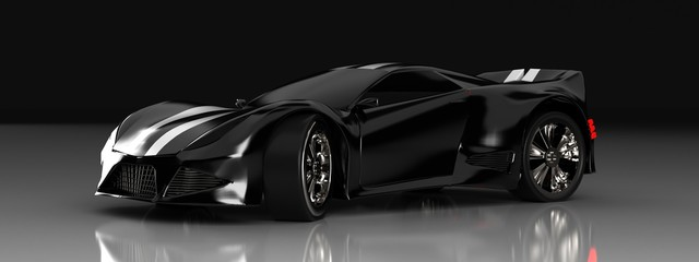 Deurstickers Cartoon cars Modern black sports car ,3d ,render.