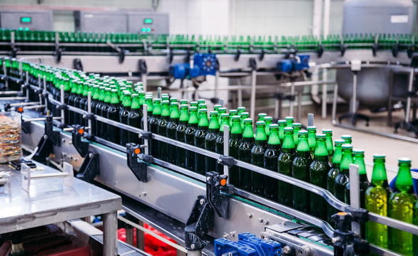 Beer bottles on the conveyor in factory