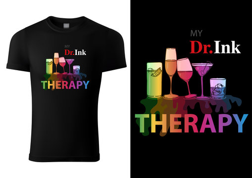 Black T-shirt Design with Colorful Drink Glasses - Abstract Graphic Illustration, Vector