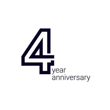 4 Year Anniversary Celebration Vector Template Design Illustration